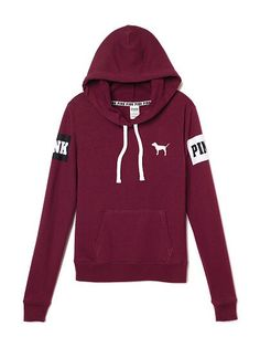 vs pink victoria's secret teenager teen girl outfit top sweatshirt pullover hoodie burgundy maroon dark red pink drawstrings cute inspiration
