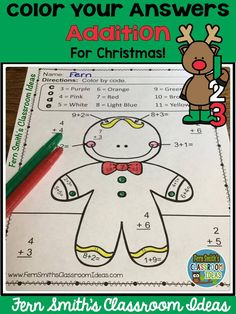 Fern Smith Classroom Ideas Color By Numbers Christmas Math Mixed Addition Facts at TeacherspayTeachers. Christmas Trivia, Christmas Math, Christmas Countdown, Christmas Ideas, Christmas Color By Number, Christmas Colors, Addition Facts, Addition And Subtraction, Classroom Management Tips