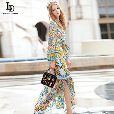 Long Sleeve Belted Casual Slit Charming Floral Print Long Dress Maxi Long Dresses - Multi, XXL Just look, that`s outstanding! Sexy Party Dress, Party Dresses, All About Fashion, Minimalist Fashion, Dress To Impress, Beautiful Outfits, Formal, Fashion Outfits, Fashion 2016