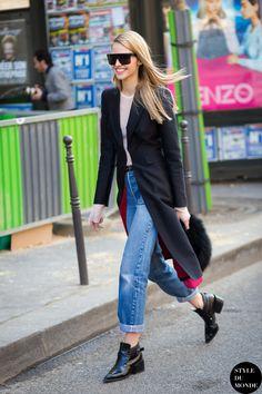 Paris Fashion Week FW 2015 Street Style: Sasha Luss - STYLE DU MONDE | Street Style Street Fashion Photos
