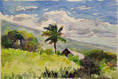 Vosberg Aceo Original Watercolor Maui House Palm tree Road To Hana Kaupo Hawaii