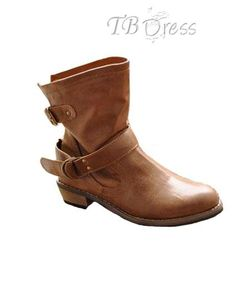 Fashionable Brown PU Upper Flat Ankle Boots with Buckle
