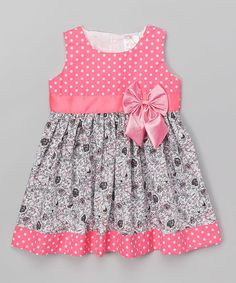 the Silly Sissy Hot Pink Polka Dot & Floral A-Line Dress - Toddler & Girls Baby Frocks Party Wear, Kids Party Wear Dresses, Baby Girl Frocks, Frocks For Girls, Toddler Girl Dresses, Little Girl Dresses, Toddler Girls, Summer Dresses, Baby Girls
