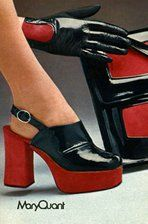 1973 UK Mary Quant Catalogue 70s shoes purse red black platform sandals