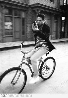 Just Robert Downey Jr on a bike