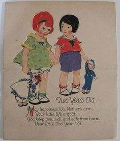 BIRTHDAY CARD with RAGGEDY ANN AND ANDY, early 1920's