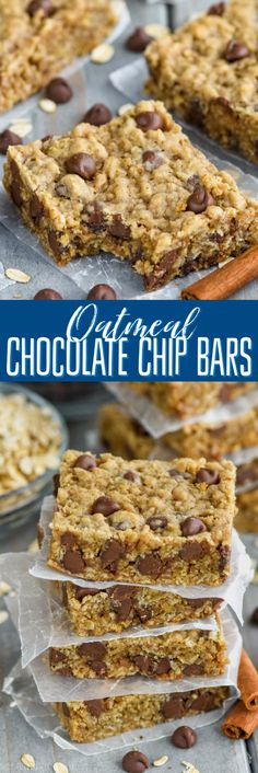 These Oatmeal Chocolate Chip Bars are such an easy delicious recipe! Chewy, full… These Oatmeal Chocolate Chip Bars are such an easy delicious recipe! Chewy, full of chocolate chips, and buttery soft, these chocolate chip cookie bars are the best dessert! Dessert Simple, Easy Dessert Bars, Easy Delicious Recipes, Yummy Food, Baking Recipes, Cookie Recipes, Bar Recipes, Best Dessert Recipes, Free Recipes