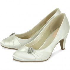 Harmony by Pink for Paradox London Ivory Low Heeled Vintage Wedding or Occasion Shoes