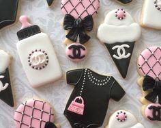Rosa, negro y blanco diseñador inspiraron bebé ducha Cookies - una docena decoradas galletitas