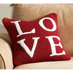 Pottery Barn Love Sweater Pillow Cover ($39) ❤ liked on Polyvore featuring home, home decor, throw pillows, backgrounds, pottery barn, knit throw pillow, square throw pillows, pottery barn accent pillows and red throw pillows