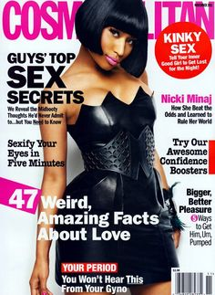 Nicki Minaj looking pretty coy and innocent on a cover of last year's Cosmo, November 2011