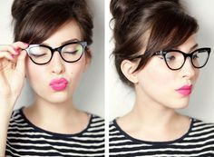 Side Swept Bangs with Cat Eye Glasses