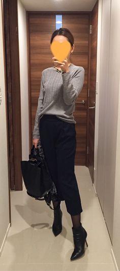 Grey sweater: Des Pres, Navy pants: Tomorrowland, Bag: ZAC Zac Posen, Boots: Jimmy Choo