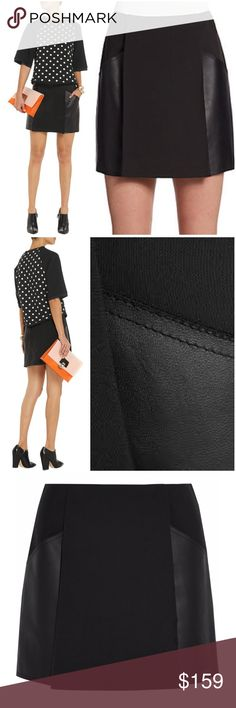 """3.1 Phillip Lim Black Leather Panel Skirt Beautiful black skirt from 3.1 Phillip Lim. The textured material brings eye-catching envy while the lined, woven details, side pocket, fully lined design provides a fresh and modern finish. Concealed zip fastening at back. Mid-weight, non-stretchy fabric. Mini-length, sits at the waist. Woven viscose and cotton-blend. Approx 15.5"""" across waist, 19.5"""" across hips, 16"""" long. EUC.  On here to declutter, 🚫 trades. If I want something in your closet…"""