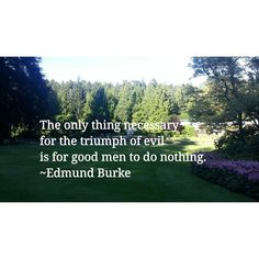 The only thing necessary for the triumph of evil is for good men to do nothing. #peace #freedom #equality