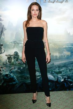Angelina Jolie in Ralph Lauren Collection at a Paris Maleficent press event.