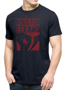 5d2a52e3bae Houston Texans 47 Brand Fall Navy Block Logo Soft Cotton Scrum T-Shirt