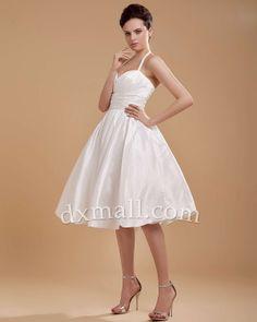 Short Wedding Dresses Halter Knee Length Taffeta Ivory #shortweddinggowns #shortweddingdress #weddingdress