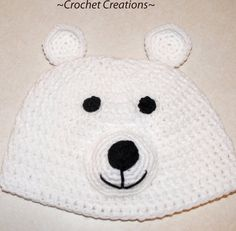 Crochet Creative Creations- Free Patterns and Instructions: Crochet Polar Bear Child Hat