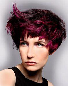 Short Hair Style (love the color) dark hair with purple highlights
