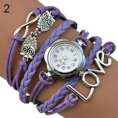 Women's Infinity Love Owl Knitting Multilayer Faux Leather Quartz Bracelet Watch 98XD