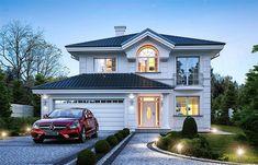 Projekt domu piętrowego Willa diamentowa o pow. 134,49 m2 z obszernym garażem, z dachem namiotowym, z tarasem, sprawdź!