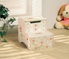 Crackle Pink Step Stool with Storage