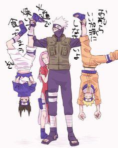 Anime: Naruto Personagens: Hatake Kakashi, Uzumaki Naruto, Haruno Sakura e Uchiha Sasuke Anime Naruto, Naruto Uzumaki, Boruto, Naruto Team 7, Naruto Comic, Naruto Fan Art, Naruto Cute, Kakashi Sensei, Sasunaru