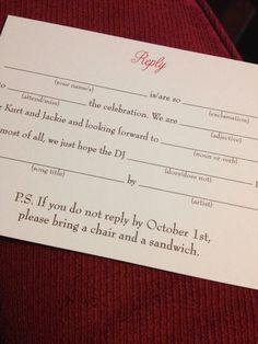 12 Cheeky Wedding RSVPs For Couples Who Play By Their Own Rules