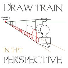 Step drawingtrainsinonepointperspectives Drawing Trains in One Point Perspective with Easy Step by Step Tutorial