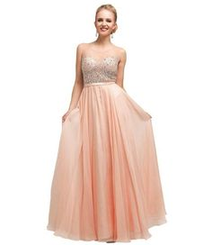 Stunning long peach prom dress 2015 with beaded bodice and flowy skirt