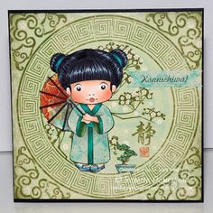 handmade card from La-La Land Crafts Blog: Kimono Marci  ...  beautiful Copic coloring ... like the almost monochromatic olive look of the card which lets Marci's sweet face shine ... wonder if there is a stamp for background circle or if it's from designer paper ...