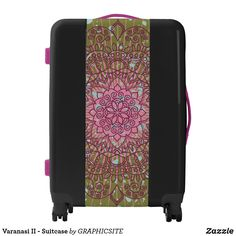Shop Varanasi II - Suitcase created by GRAPHICSITE. Reset Button, Carry On Luggage, Varanasi, Mandala Design, Pink Purple, Suitcase, Shells, Travel, Beautiful