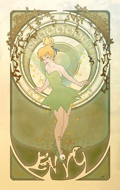 "Mucha style - "" #TinkerBell"" "" #DisneyPrincesses"" "" #Disney"" Illustration in style of ""Alphonse Mucha"""