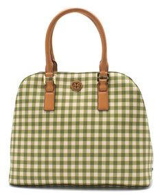 Look what I found on #zulily! Leaf Green Gingham Kerrington Open Dome Tote #zulilyfinds
