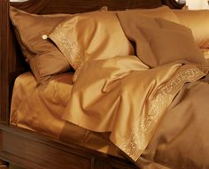 SAMPLE SALE-King Kearsley Top Sheet Chestnut Essentials Sateen with Chestnut Tyrollean I Embroidery. 600 thread count finest long staple