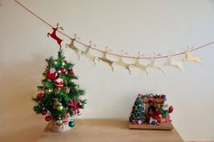 Reindeer Bunting Bunting, Reindeer, Beautiful Homes, Christmas Tree, Trending Outfits, Holiday Decor, Unique Jewelry, Handmade Gifts, Etsy