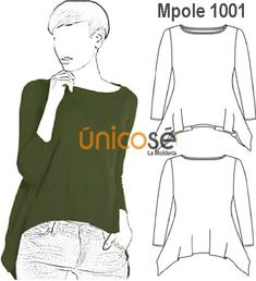 POLERA FORMA IRREGULAR MUJER, PUNTAS EN COSTADOS. Fashion Design Sketches, Sketch Design, Fashion Templates, Couture, Sewing Patterns, Street Wear, Sweaters, Womens Fashion, Casual