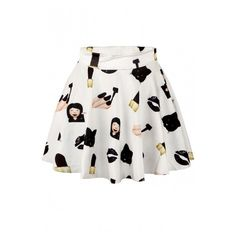 White Emoji Print Elastic Waist Mini Flared Skirt ($19) ❤ liked on Polyvore featuring skirts, mini skirts, mini skirt, white circle skirt, white mini skater skirt, patterned mini skirt and flared skirt