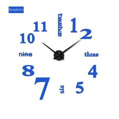 2017 Arabic numerals Wall Clock Creative Modern black Big DIY 3D Digital Mirror Sticker Unique Wall Clocks Watch Home Decoration