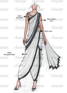 Fashion Design Drawing Buy DIY Sonam Kapoor Inspired Dhoti Saree online from the wide collection of sari. This White colored sari in Faux Georgette fabric goes well with any occasion. Shop online Designer sari from cbazaar at the lowest price. Dress Illustration, Fashion Illustration Dresses, Fashion Design Drawings, Fashion Sketches, Dhoti Saree, Saree Draping Styles, Fashion Drawing Dresses, Designer Sarees Online Shopping, Dress Drawing