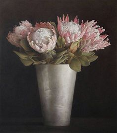 Ophelia & Co. 'Blush Bouquet' Photographic Print On Wrapped Canvas Size: Protea Art, Protea Flower, Tulip Bouquet, Blush Bouquet, Non Plus Ultra, South African Art, African Artists, Hand Painting Art, Painting Flowers