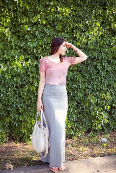 Stripes tucked into my grey maxi skirt.  Now i have the grey jersey maxi, just need tops to go w/ it for spring + summer in SoCal