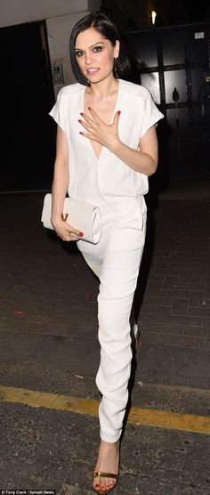 Looking good: Jessie J was typically glamorous as she attended a nightclub owned by royal pal Guy Pelly Jessie J, Guy Pelly, Bae, All White Outfit, White Jumpsuit, Celebs, Celebrities, My Wardrobe, Celebrity Style
