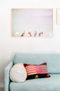Lucy's Home Makeover // in love with this Aqua sofa. Not really sticky-toddler hand friendly...