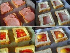 Вкуснейший бутерброд -  Ингредиенты:      тоненькие ломтики ветчины, бекона или копченое мясо     8 кусочков белого хлеба для тостов     помидор     4 куриных яйца     соль      перец