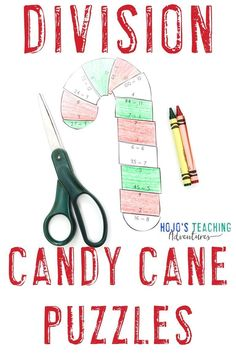 This DIVISION candy cane puzzle is great for upper elementary 3rd, 4th, or 5th grade kids. Plus the post has a FREE download, book ideas, bulletin board inspiration, and more. Click to learn more and keep your third, fourth, and fifth graders busy with math centers, review, and holiday fun this December! #UpperElementaryMath #ChristmasMath