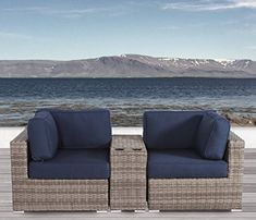 Sol 72 Outdoor Lazaro 3 Piece Sunbrella Conversation Set with Cushions Cushion Color: Navy Blue Outdoor Wicker Patio Furniture, Patio Furniture Sets, Outdoor Sofa, Outdoor Living, Furniture Ideas, Ireland Homes, Rattan Sofa, Outdoor Seating