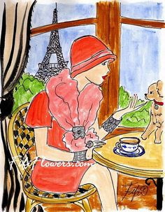 """Tea avec Chien in Paris by Fifi Flowers on Etsy 5""""x7"""" frameable cards and prints!!!"""