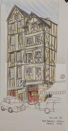 Urban Sketchers Paris: A Paris, dans le 4ème arrondissement.